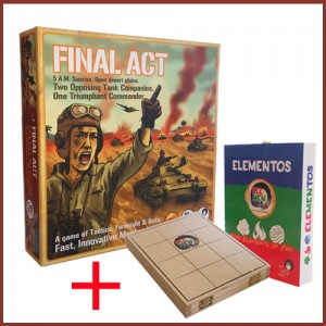 Box Cover of Final Act Tabletop game together with the successful first game by Tyto Games, ELEMENTOS
